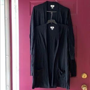 Lot of 2 Old Navy Black Sweater Cardigans Pockets